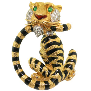 Gold, Enamel, Diamond and Emerald Tiger Brooch, Tiffany